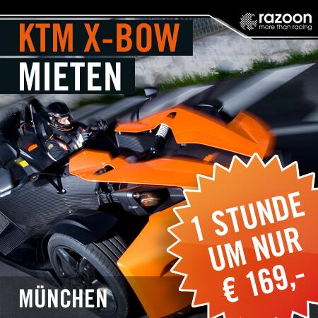 KTM X-BOW mieten München 1 Stunde. Erlebe hautnah die pure Leistung im KTM X-Bow. Jetzt KTM X-Bow mieten - einsteigen und Fahrerlebnis genießen. Hier!