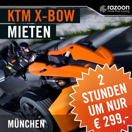 KTM X-BOW mieten München 2 Stunden. Erlebe hautnah die pure Leistung im KTM X-Bow. Jetzt KTM X-Bow mieten - einsteigen und Fahrerlebnis genießen. Hier!