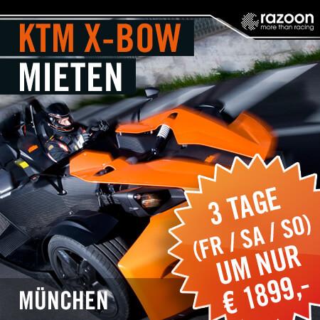 KTM X-BOW mieten München 3 Tage. Erlebe hautnah die pure Leistung im KTM X-Bow. Jetzt KTM X-Bow mieten - einsteigen und Fahrerlebnis genießen. Hier buchen!