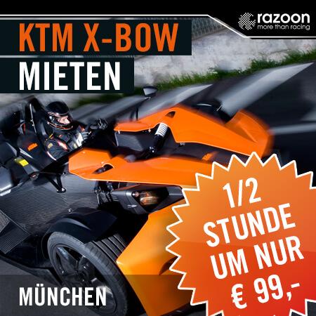 KTM X-BOW mieten München 30 Min. Erlebe hautnah die pure Leistung im KTM X-Bow. Jetzt KTM X-Bow mieten - einsteigen und Fahrerlebnis genießen. Hier!